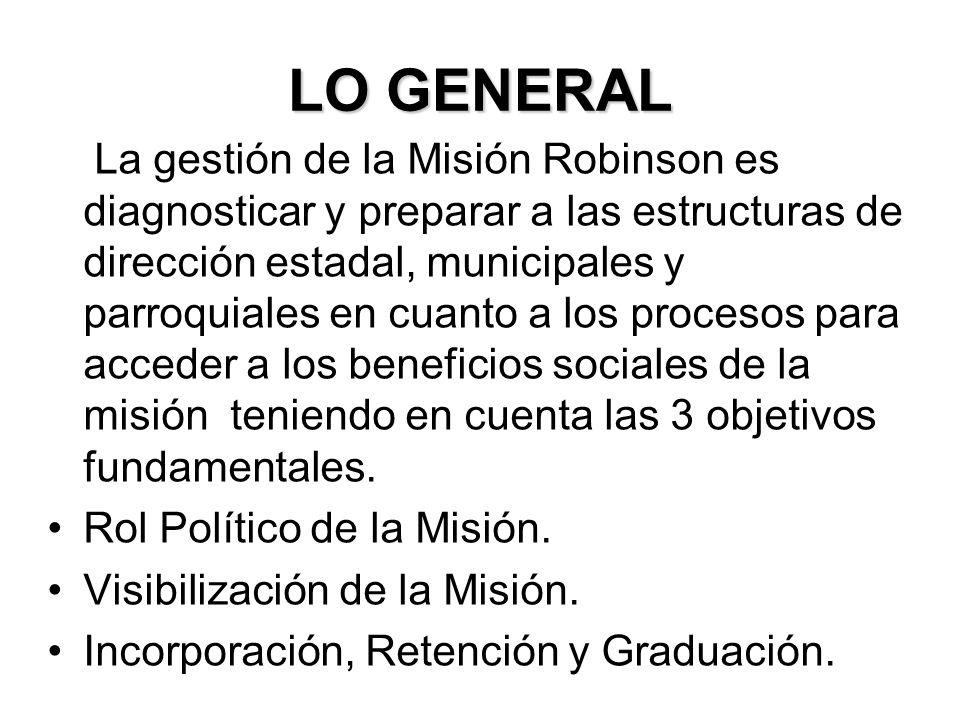 LO GENERAL La gestión de la Misión Robinson es diagnosticar y preparar a las estructuras de dirección estadal, municipales y parroquiales en cuanto a los procesos para acceder a los beneficios sociales de la misión teniendo en cuenta las 3 objetivos fundamentales.