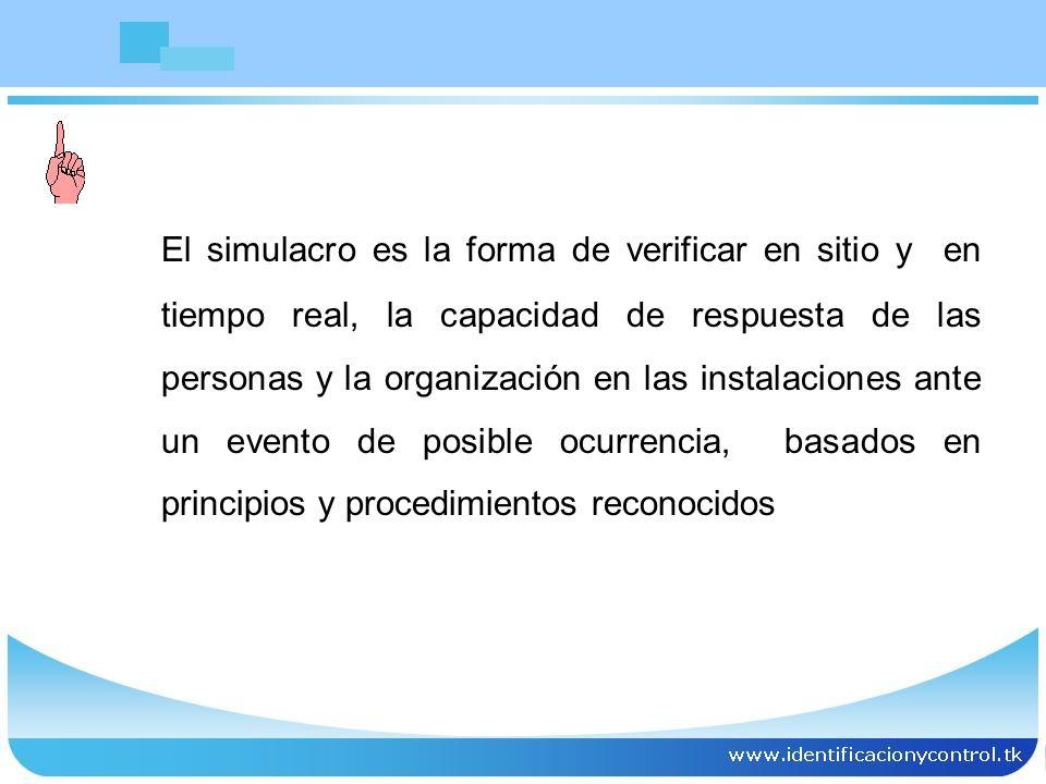 El simulacro es la forma de verificar en sitio y en tiempo real, la capacidad de respuesta de las personas y la organización en las instalaciones ante