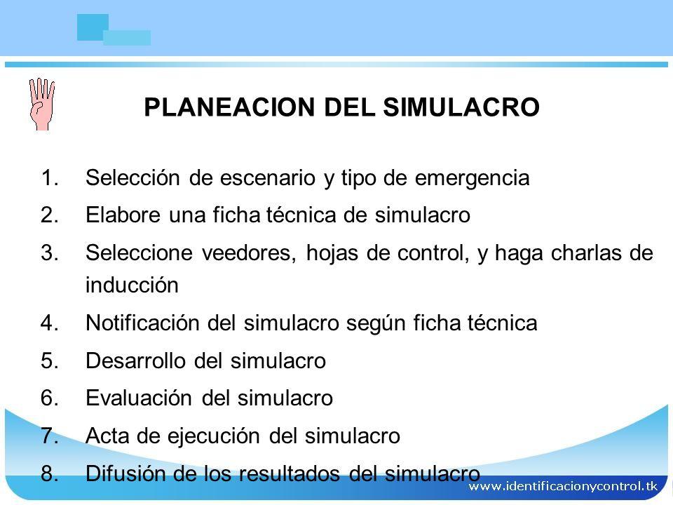PLANEACION DEL SIMULACRO 1.Selección de escenario y tipo de emergencia 2.Elabore una ficha técnica de simulacro 3.Seleccione veedores, hojas de contro