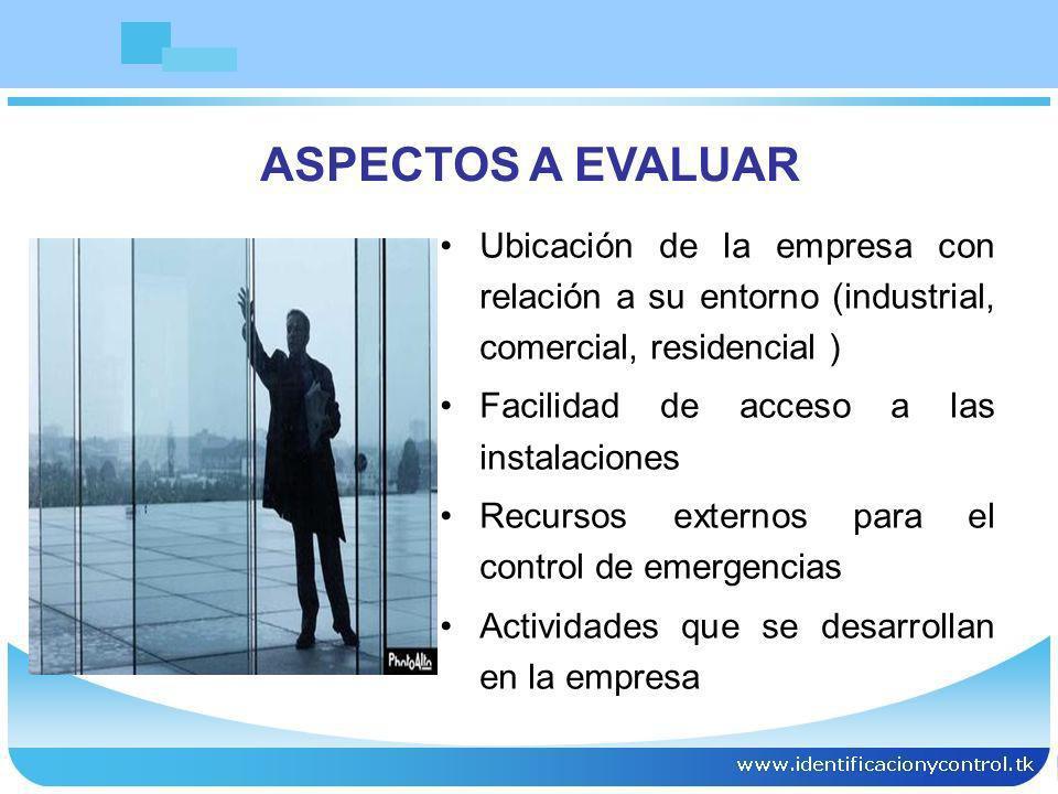 Ubicación de la empresa con relación a su entorno (industrial, comercial, residencial ) Facilidad de acceso a las instalaciones Recursos externos para