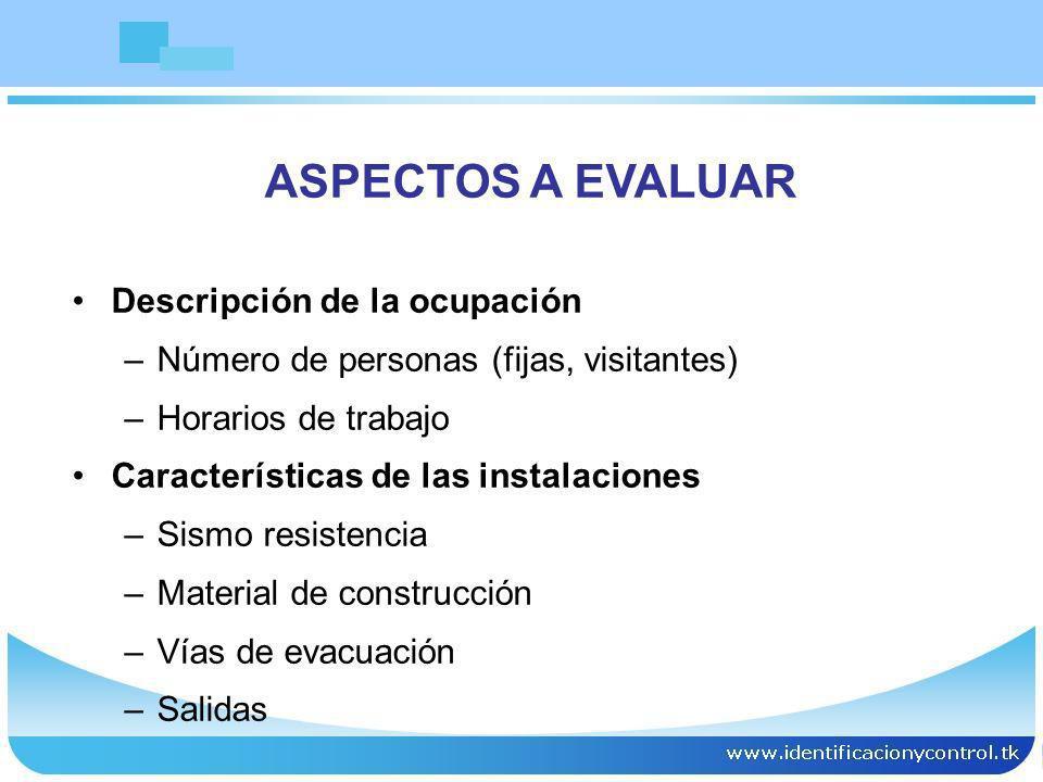 Descripción de la ocupación –Número de personas (fijas, visitantes) –Horarios de trabajo Características de las instalaciones –Sismo resistencia –Mate