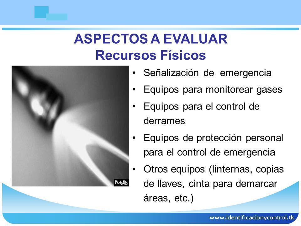 Señalización de emergencia Equipos para monitorear gases Equipos para el control de derrames Equipos de protección personal para el control de emergen