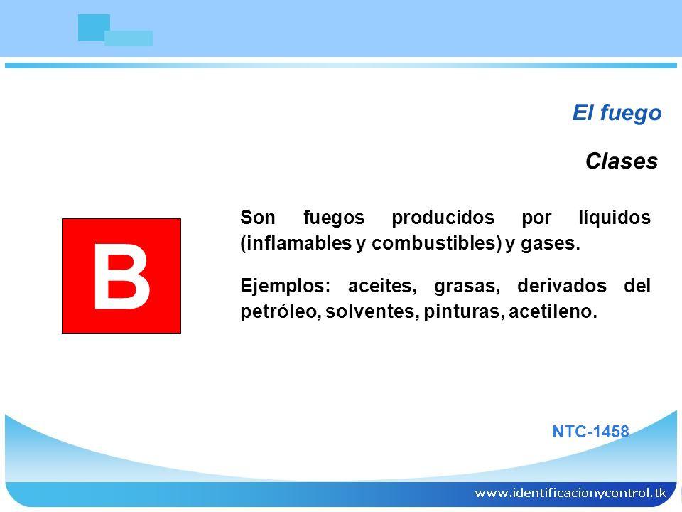 El fuego Son fuegos producidos por líquidos (inflamables y combustibles) y gases. Ejemplos: aceites, grasas, derivados del petróleo, solventes, pintur
