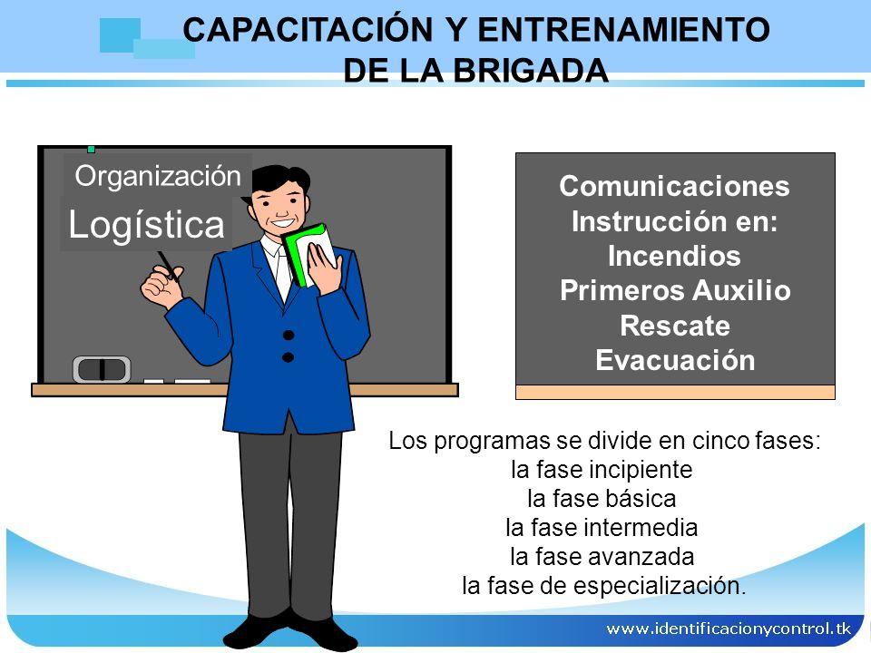 Organización Logística Comunicaciones Instrucción en: Incendios Primeros Auxilio Rescate Evacuación CAPACITACIÓN Y ENTRENAMIENTO DE LA BRIGADA Los pro