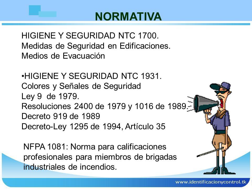 HIGIENE Y SEGURIDAD NTC 1700. Medidas de Seguridad en Edificaciones. Medios de Evacuación HIGIENE Y SEGURIDAD NTC 1931. Colores y Señales de Seguridad