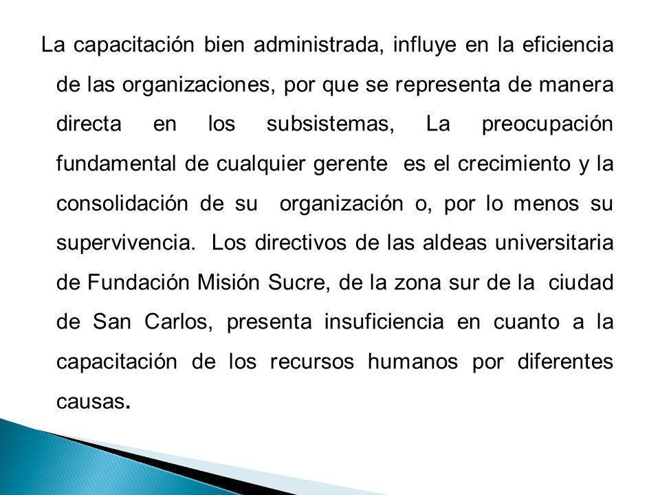 La capacitación bien administrada, influye en la eficiencia de las organizaciones, por que se representa de manera directa en los subsistemas, La preo