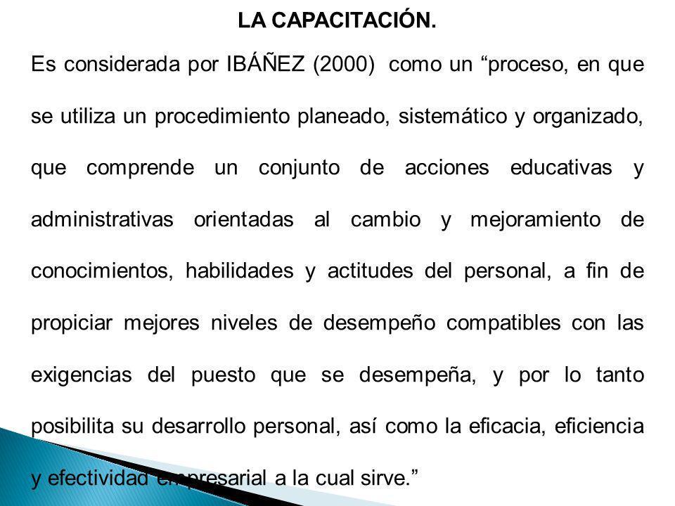 LA CAPACITACIÓN. Es considerada por IBÁÑEZ (2000) como un proceso, en que se utiliza un procedimiento planeado, sistemático y organizado, que comprend