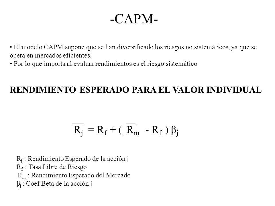 -CAPM- El modelo CAPM supone que se han diversificado los riesgos no sistemáticos, ya que se opera en mercados eficientes. Por lo que importa al evalu
