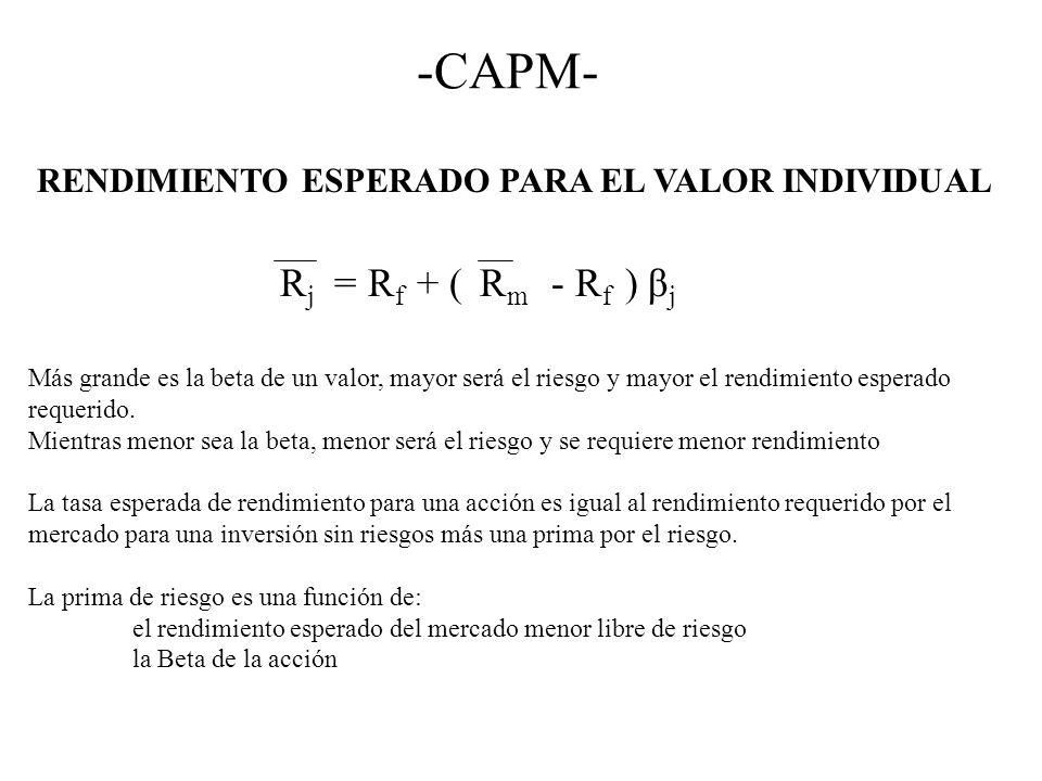 -CAPM- RENDIMIENTO ESPERADO PARA EL VALOR INDIVIDUAL R j = R f + ( R m - R f ) β j Más grande es la beta de un valor, mayor será el riesgo y mayor el