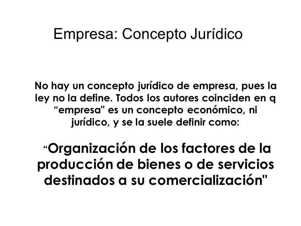 Empresa: Concepto Jurídico No hay un concepto jurídico de empresa, pues la ley no la define. Todos los autores coinciden en q empresa