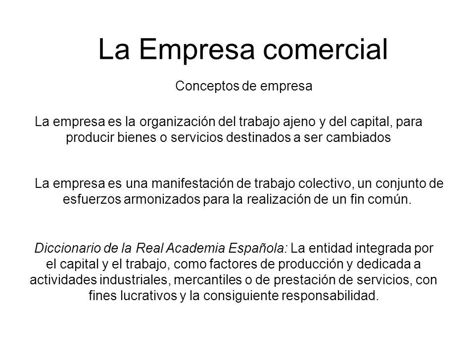 La Empresa comercial La empresa es la organización del trabajo ajeno y del capital, para producir bienes o servicios destinados a ser cambiados La emp