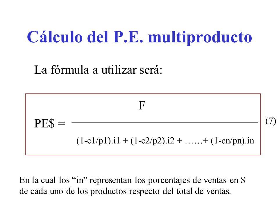 Cálculo del P.E. multiproducto La fórmula a utilizar será: F PE$ = (1-c1/p1).i1 + (1-c2/p2).i2 + ……+ (1-cn/pn).in (7) En la cual los in representan lo