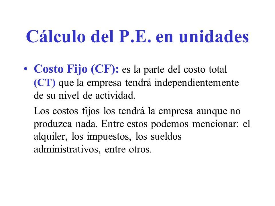 Cálculo del P.E. en unidades Costo Fijo (CF): es la parte del costo total (CT) que la empresa tendrá independientemente de su nivel de actividad. Los