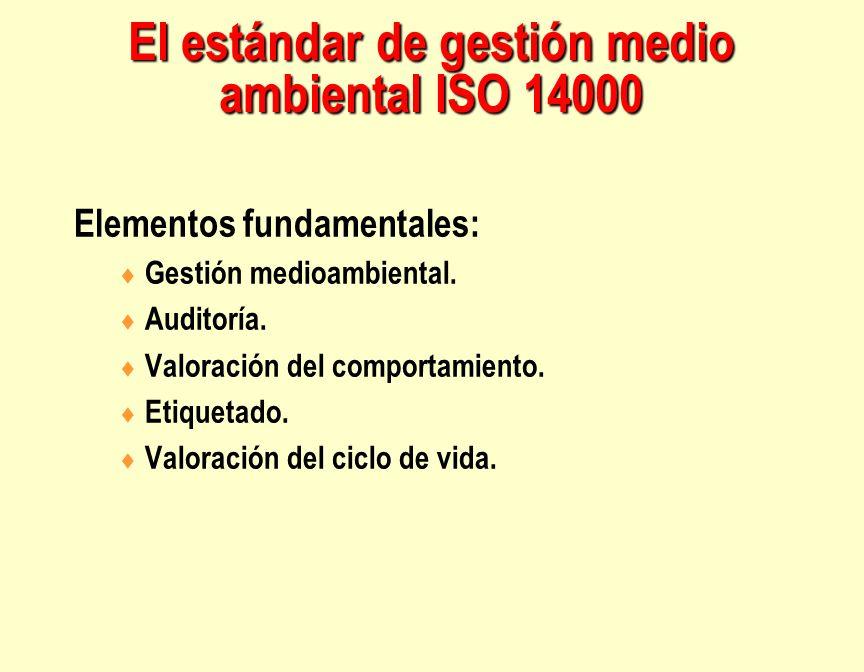 El estándar de gestión medio ambiental ISO 14000 Elementos fundamentales: Gestión medioambiental. Auditoría. Valoración del comportamiento. Etiquetado