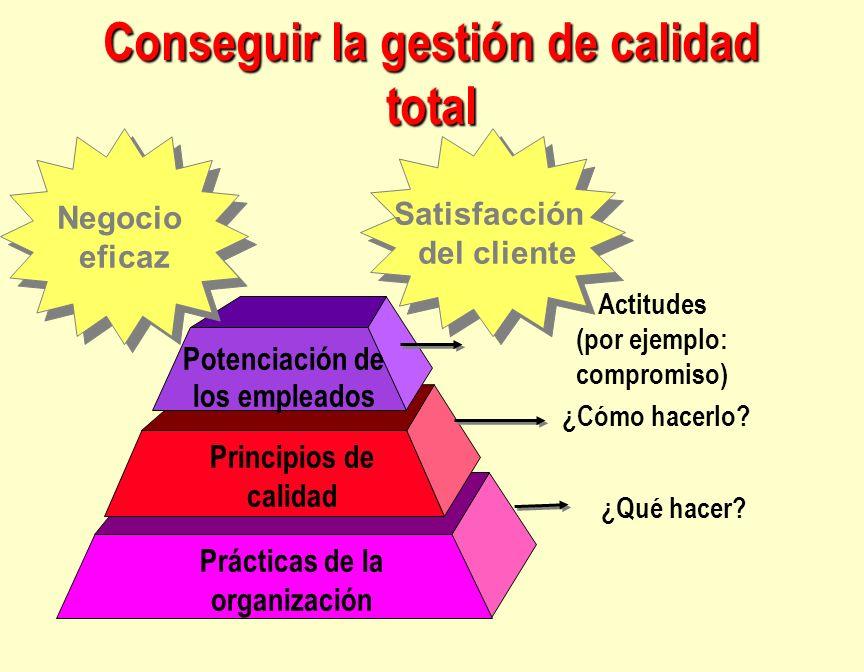 Prácticas de la organización Principios de calidad Potenciación de los empleados Actitudes (por ejemplo: compromiso) ¿Cómo hacerlo? ¿Qué hacer? Negoci