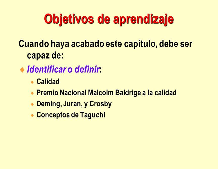 Objetivos de aprendizaje Cuando haya acabado este capítulo, debe ser capaz de: Identificar o definir : Calidad Premio Nacional Malcolm Baldrige a la c