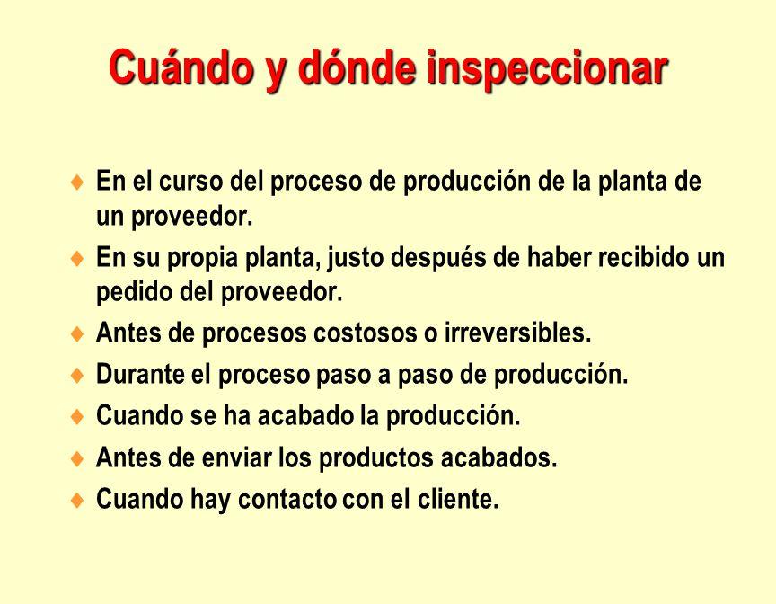 Cuándo y dónde inspeccionar En el curso del proceso de producción de la planta de un proveedor. En su propia planta, justo después de haber recibido u