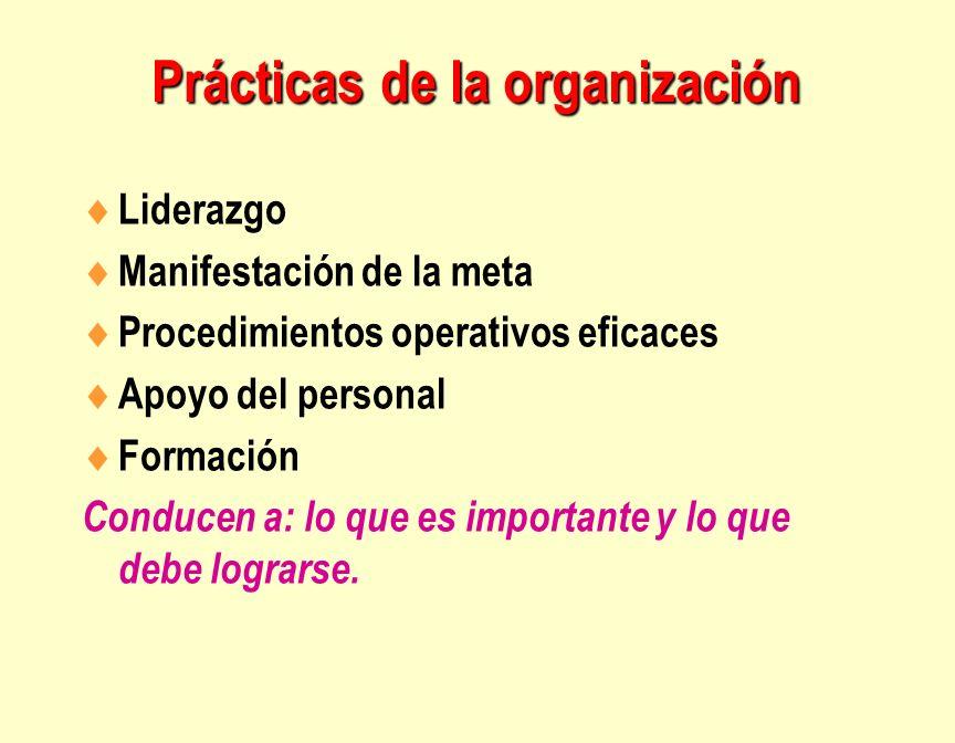 Prácticas de la organización Liderazgo Manifestación de la meta Procedimientos operativos eficaces Apoyo del personal Formación Conducen a: lo que es