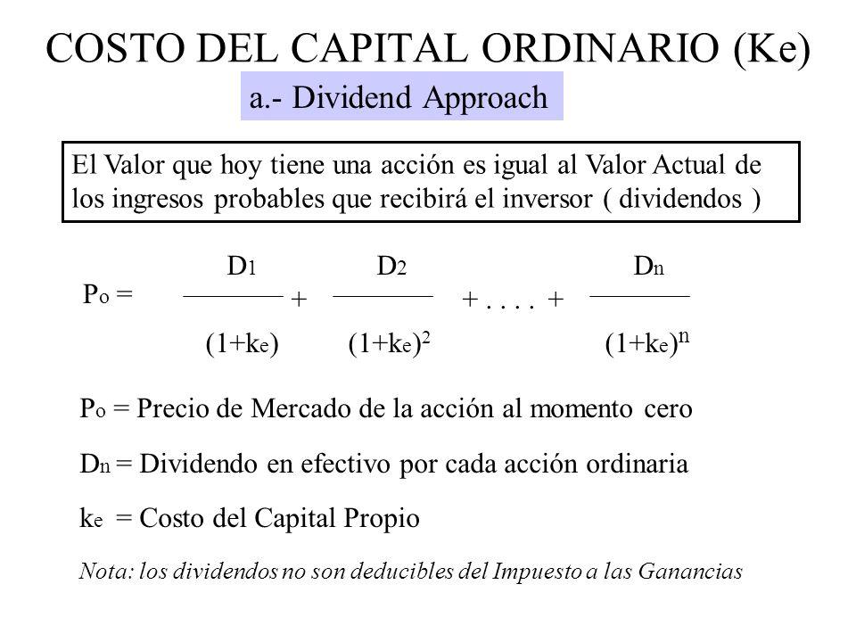 P o = D 1 D 2 D n ++....+ (1+k e ) (1+k e ) 2 (1+k e ) n P o = Precio de Mercado de la acción al momento cero D n = Dividendo en efectivo por cada acc