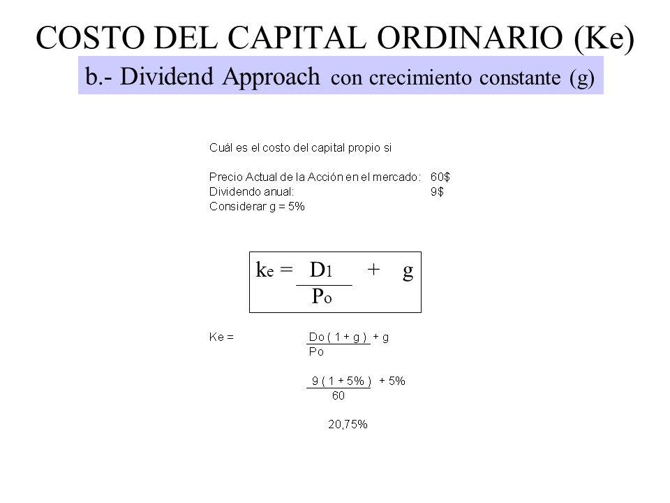 COSTO DEL CAPITAL ORDINARIO (Ke) b.- Dividend Approach con crecimiento constante (g) k e = D 1 + g P o
