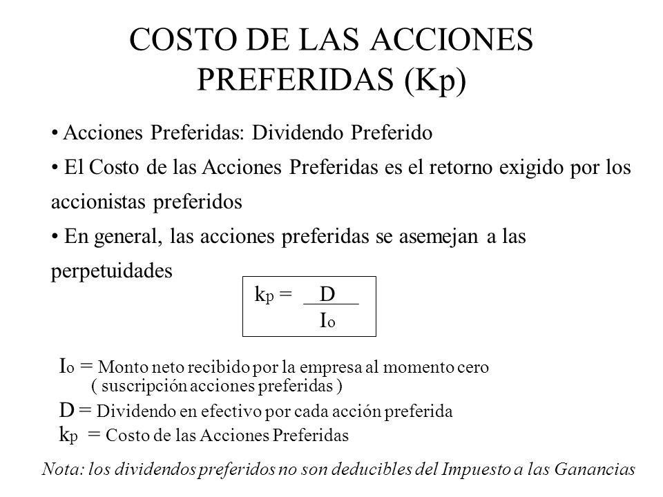 COSTO DE LAS ACCIONES PREFERIDAS (Kp) Acciones Preferidas: Dividendo Preferido El Costo de las Acciones Preferidas es el retorno exigido por los accio