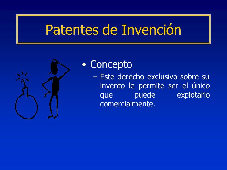 Concepto –Este derecho exclusivo sobre su invento le permite ser el único que puede explotarlo comercialmente. Patentes de Invención