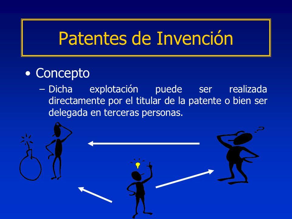 Concepto –Dicha explotación puede ser realizada directamente por el titular de la patente o bien ser delegada en terceras personas. Patentes de Invenc