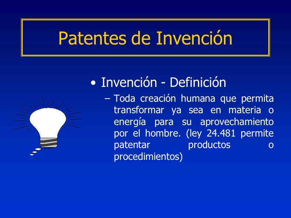 Invención - Definición –Toda creación humana que permita transformar ya sea en materia o energía para su aprovechamiento por el hombre. (ley 24.481 pe