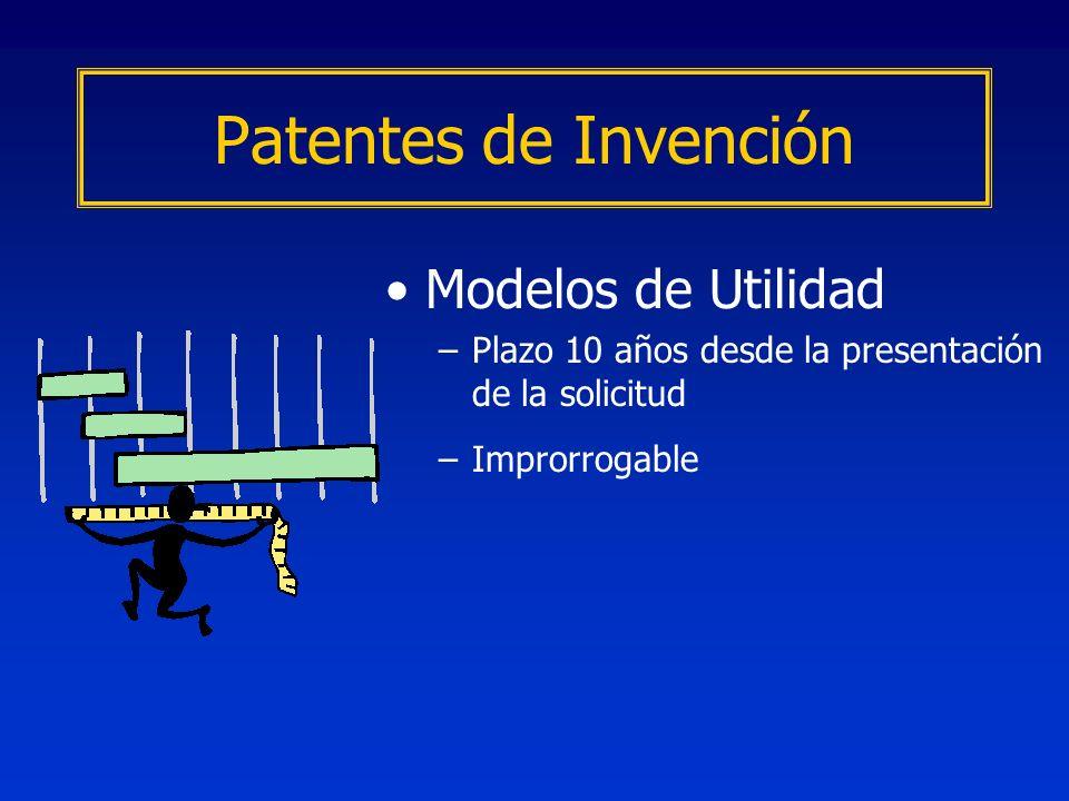 Modelos de Utilidad –Plazo 10 años desde la presentación de la solicitud –Improrrogable Patentes de Invención