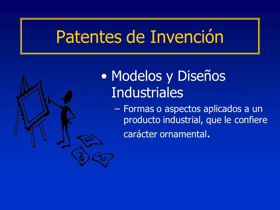 Modelos y Diseños Industriales –Formas o aspectos aplicados a un producto industrial, que le confiere carácter ornamental. Patentes de Invención