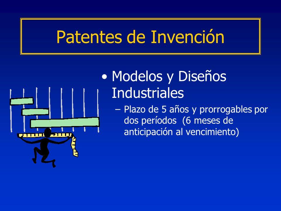 Modelos y Diseños Industriales –Plazo de 5 años y prorrogables por dos períodos (6 meses de anticipación al vencimiento) Patentes de Invención