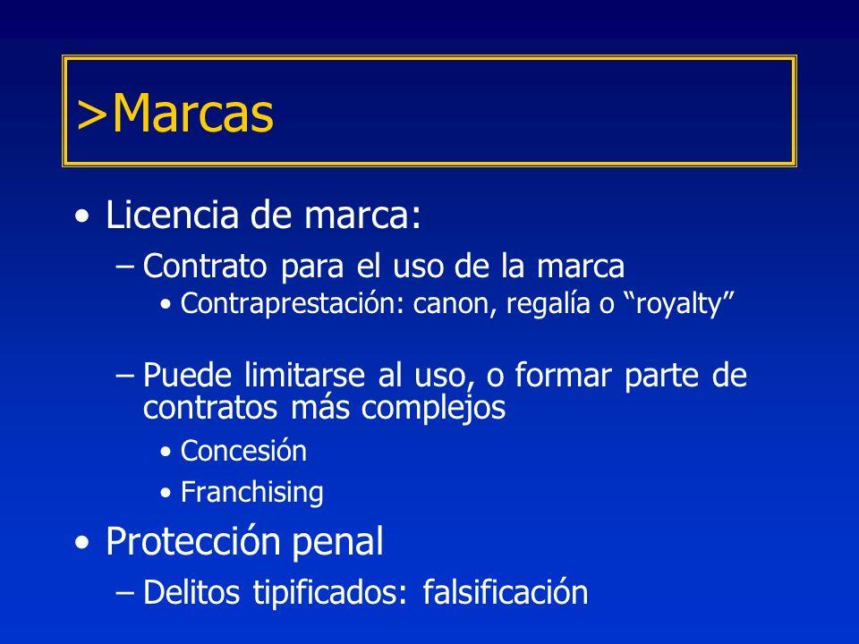 Licencia de marca: –Contrato para el uso de la marca Contraprestación: canon, regalía o royalty –Puede limitarse al uso, o formar parte de contratos m