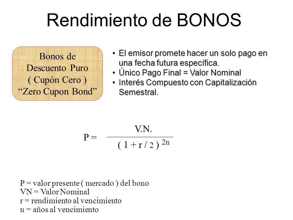 Rendimiento de BONOS Bonos de Descuento Puro ( Cupón Cero ) Zero Cupon Bond El emisor promete hacer un solo pago en una fecha futura específica.El emi