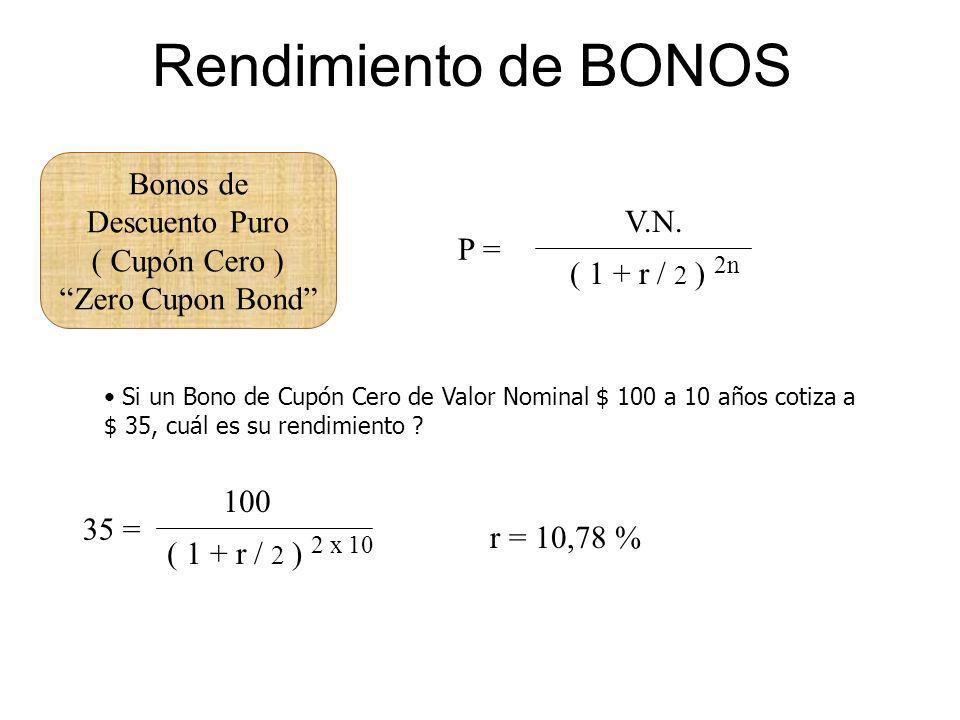 Rendimiento de BONOS Bonos de Descuento Puro ( Cupón Cero ) Zero Cupon Bond P = V.N. ( 1 + r / 2 ) 2n Si un Bono de Cupón Cero de Valor Nominal $ 100
