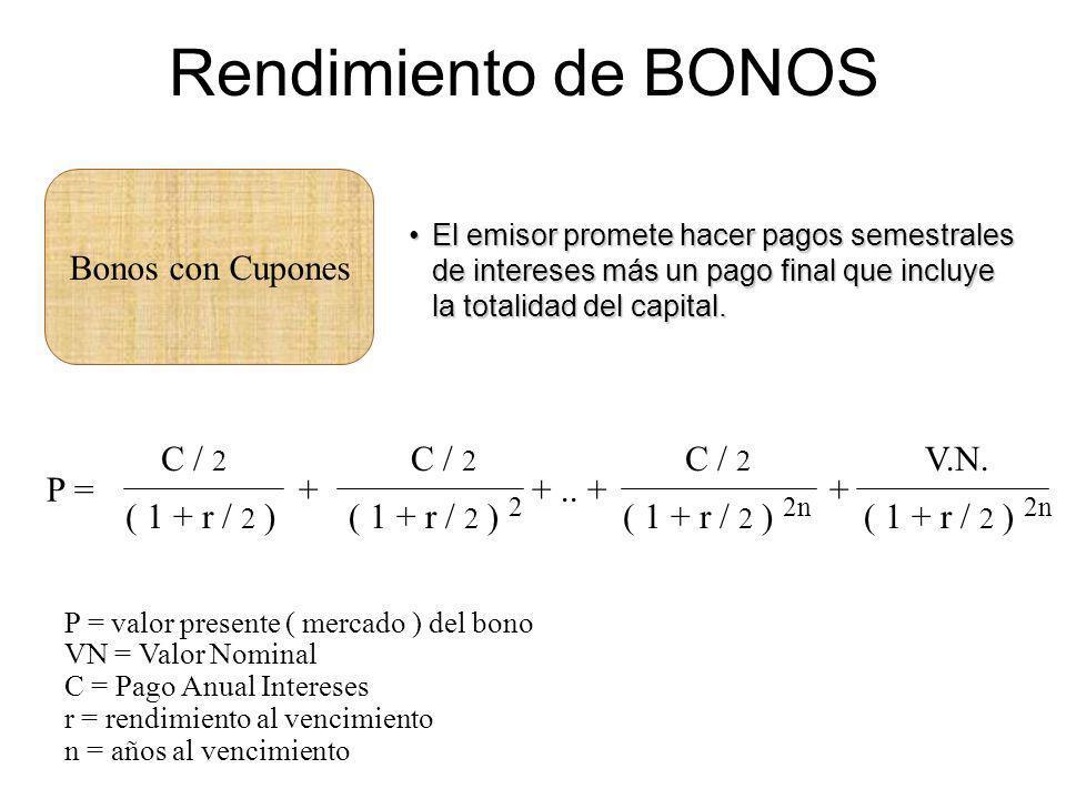 Rendimiento de BONOS Bonos con Cupones El emisor promete hacer pagos semestrales de intereses más un pago final que incluye la totalidad del capital.E