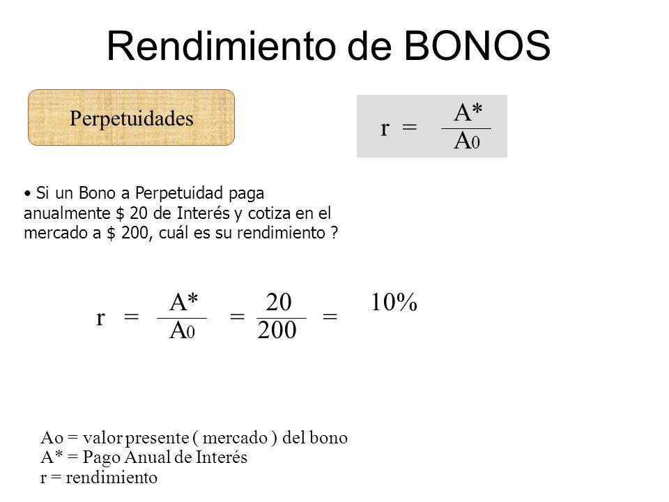 Perpetuidades Rendimiento de BONOS A* A 0 r = Ao = valor presente ( mercado ) del bono A* = Pago Anual de Interés r = rendimiento Si un Bono a Perpetu
