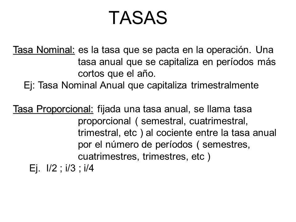 TASAS Tasa Nominal: Tasa Nominal: es la tasa que se pacta en la operación. Una tasa anual que se capitaliza en períodos más cortos que el año. Ej: Tas