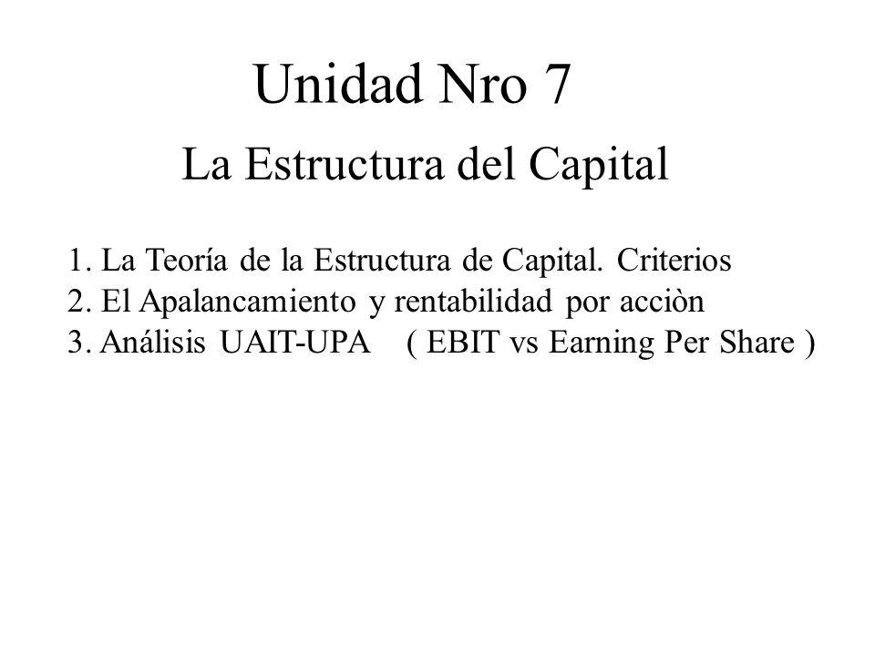 Unidad Nro 7 La Estructura del Capital 1. La Teoría de la Estructura de Capital. Criterios 2. El Apalancamiento y rentabilidad por acciòn 3. Análisis