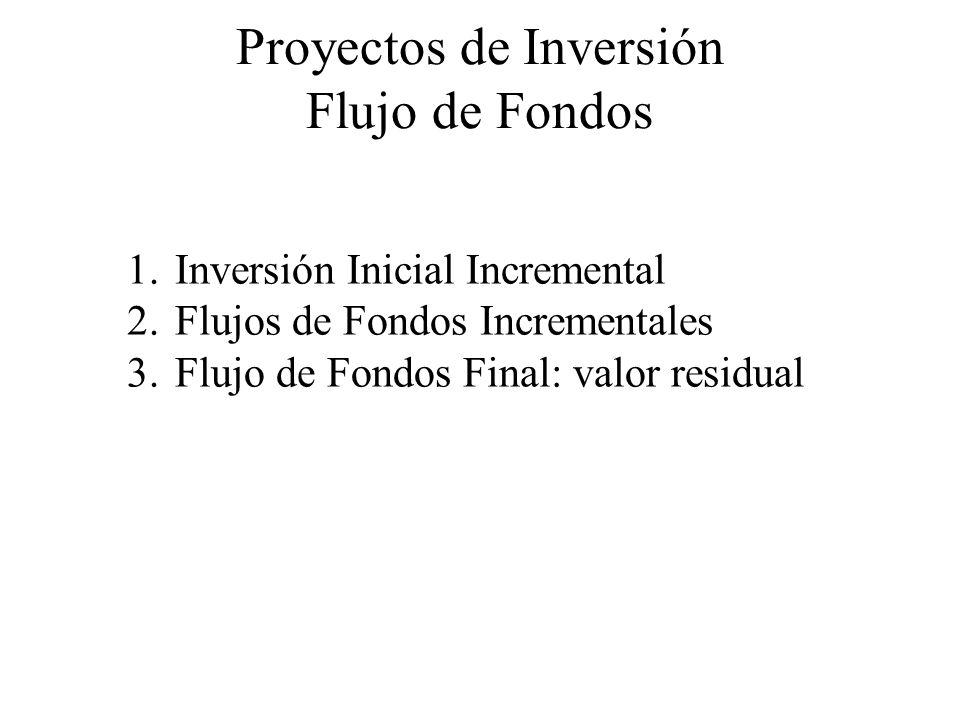 Proyectos de Inversión Flujo de Fondos 1.Inversión Inicial Incremental 2.Flujos de Fondos Incrementales 3.Flujo de Fondos Final: valor residual