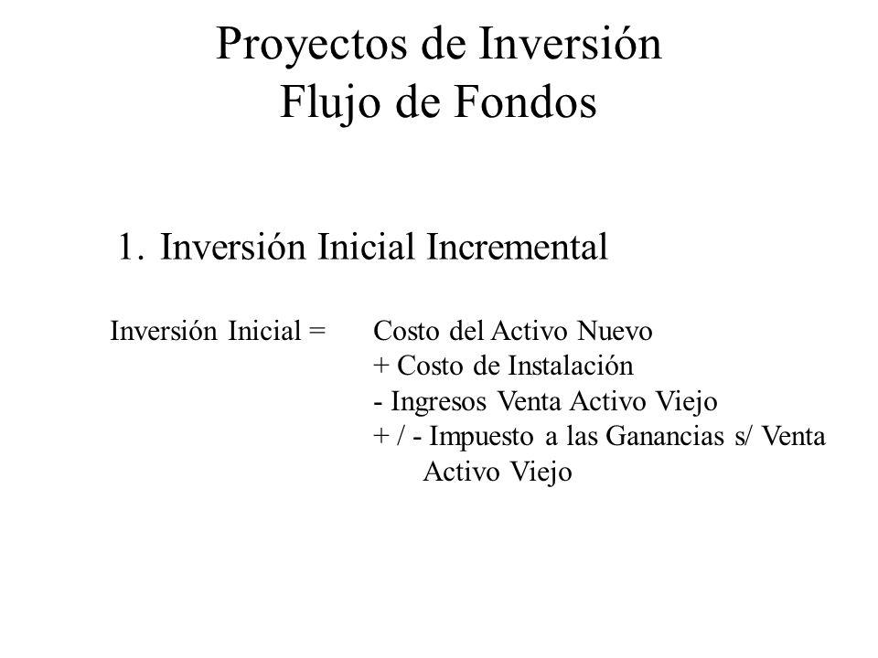 Proyectos de Inversión Flujo de Fondos 1.Inversión Inicial Incremental Inversión Inicial = Costo del Activo Nuevo + Costo de Instalación - Ingresos Ve