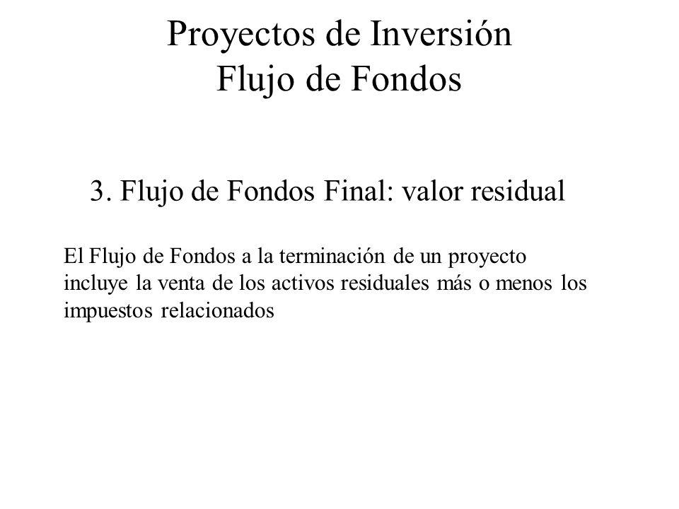 Proyectos de Inversión Flujo de Fondos 3. Flujo de Fondos Final: valor residual El Flujo de Fondos a la terminación de un proyecto incluye la venta de