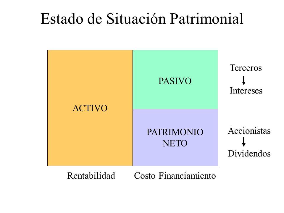 Estado de Situación Patrimonial ACTIVO PASIVO PATRIMONIO NETO Terceros Intereses Accionistas Dividendos RentabilidadCosto Financiamiento
