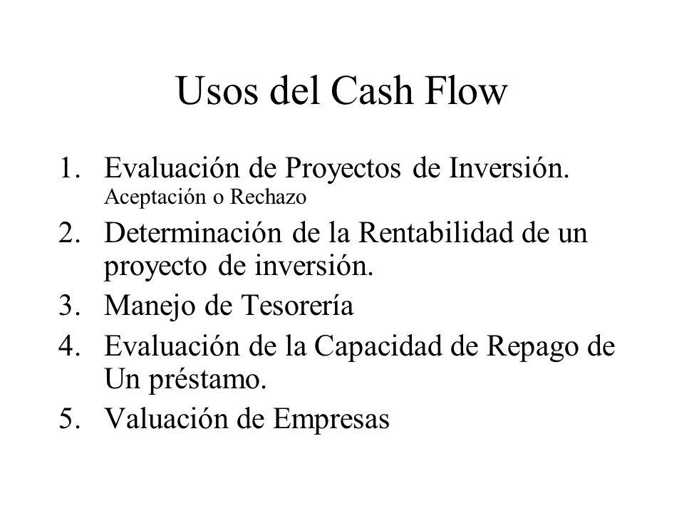 Usos del Cash Flow 1.Evaluación de Proyectos de Inversión. Aceptación o Rechazo 2.Determinación de la Rentabilidad de un proyecto de inversión. 3.Mane