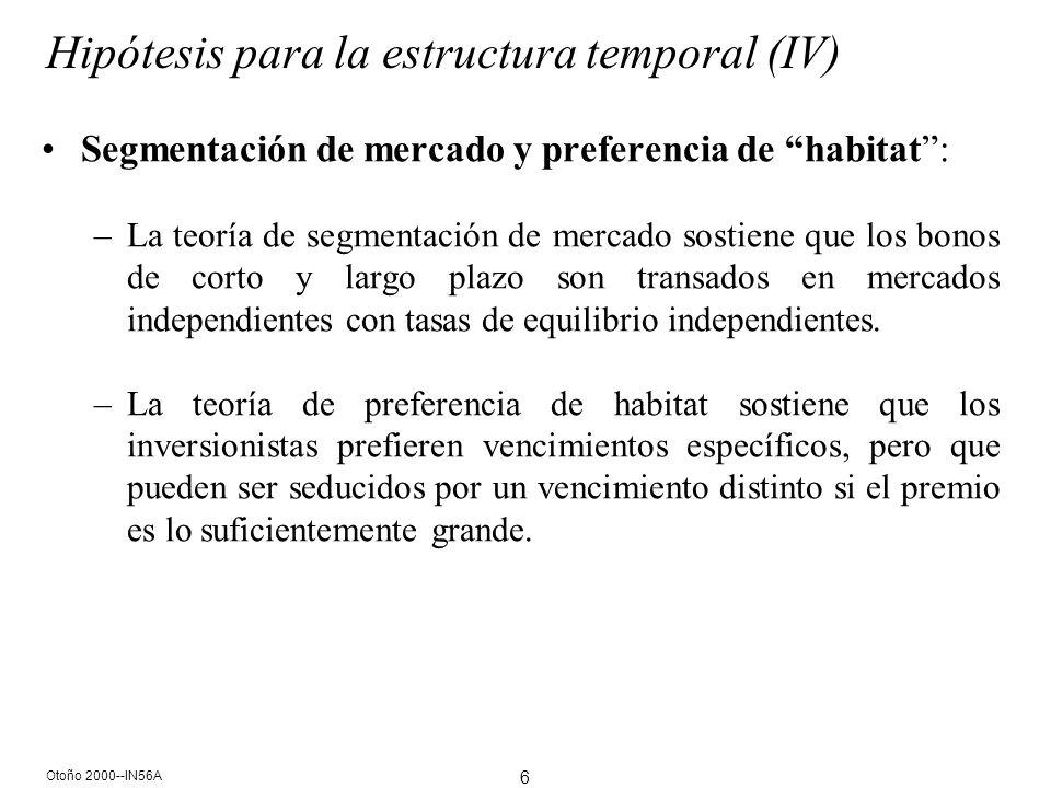 6 Otoño 2000--IN56A Hipótesis para la estructura temporal (IV) Segmentación de mercado y preferencia de habitat: –La teoría de segmentación de mercado sostiene que los bonos de corto y largo plazo son transados en mercados independientes con tasas de equilibrio independientes.