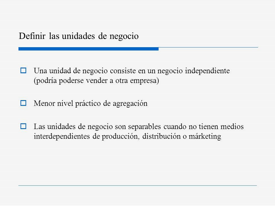 Una unidad de negocio consiste en un negocio independiente (podría poderse vender a otra empresa) Menor nivel práctico de agregación Las unidades de n