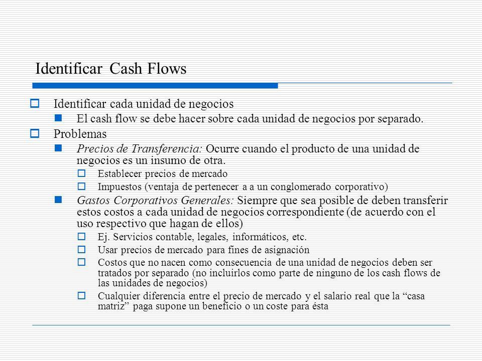 Identificar Cash Flows Identificar cada unidad de negocios El cash flow se debe hacer sobre cada unidad de negocios por separado. Problemas Precios de
