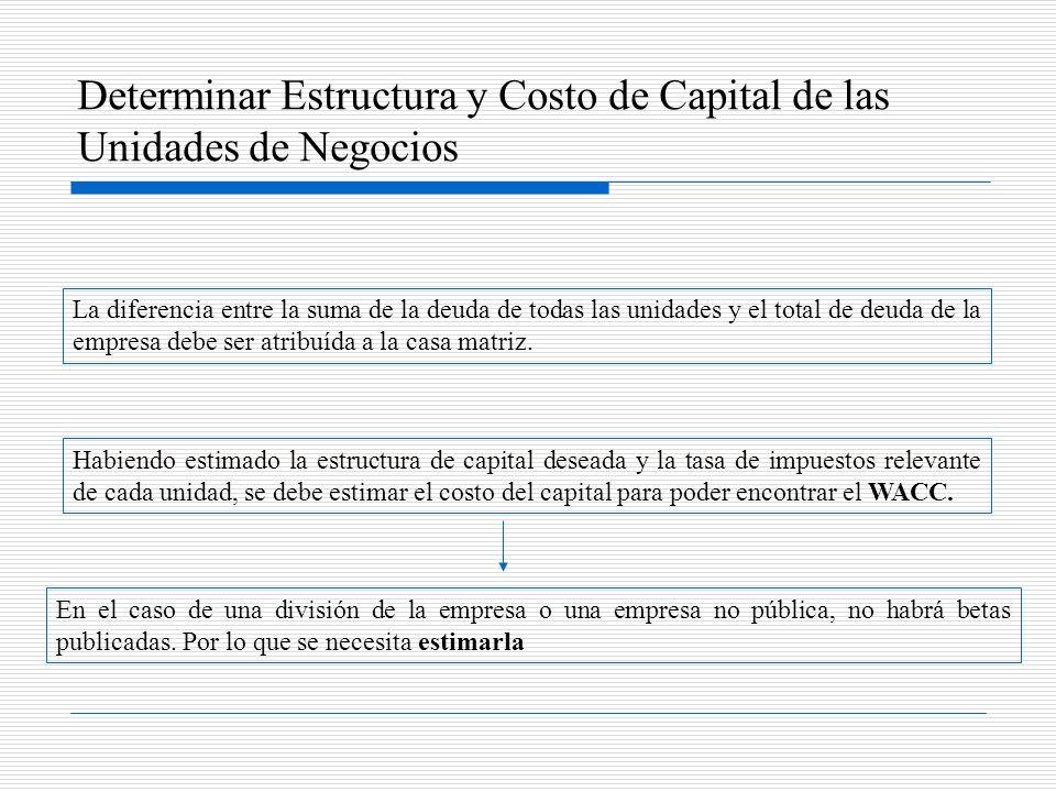 Determinar Estructura y Costo de Capital de las Unidades de Negocios La diferencia entre la suma de la deuda de todas las unidades y el total de deuda