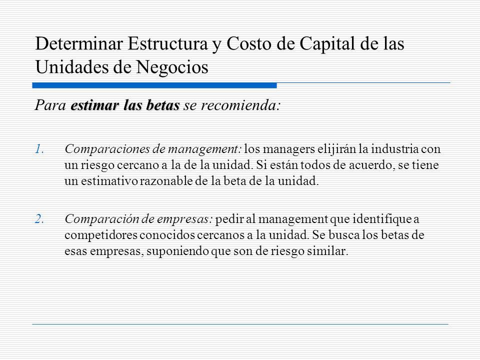 Determinar Estructura y Costo de Capital de las Unidades de Negocios estimar las betas Para estimar las betas se recomienda: 1.Comparaciones de manage