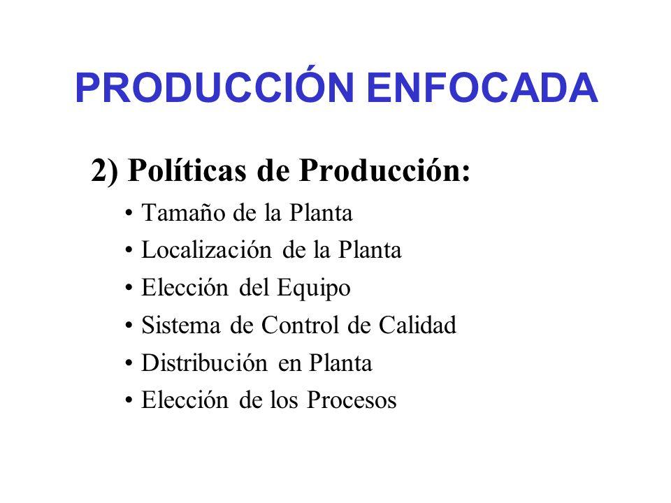 PRODUCCIÓN ENFOCADA 2) Políticas de Producción: Tamaño de la Planta Localización de la Planta Elección del Equipo Sistema de Control de Calidad Distri