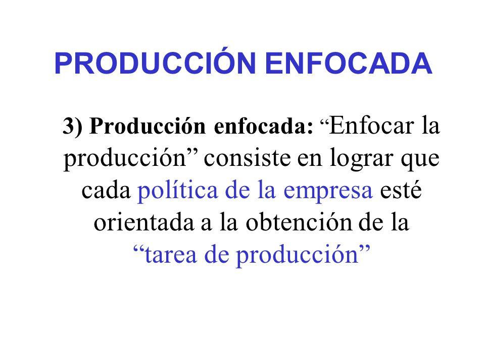 PRODUCCIÓN ENFOCADA 3) Producción enfocada: Enfocar la producción consiste en lograr que cada política de la empresa esté orientada a la obtención de